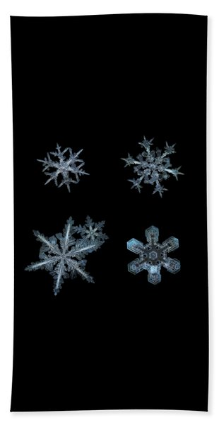 Five Snowflakes On Black 3 Beach Towel