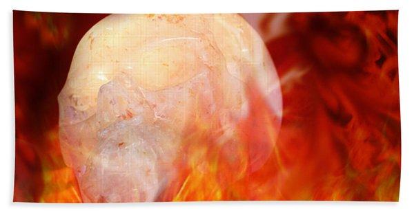 Flaming Crystal Skull Beach Towel