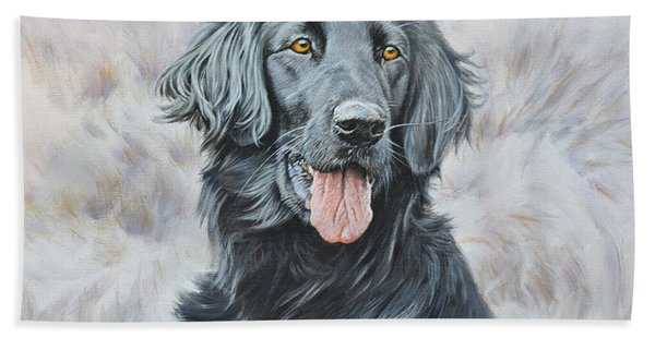 Flat Coated Retriever Portrait Beach Towel