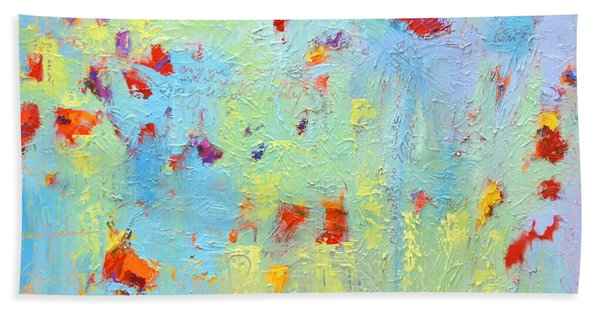 Floral Abstract Coloful Painting Beach Towel