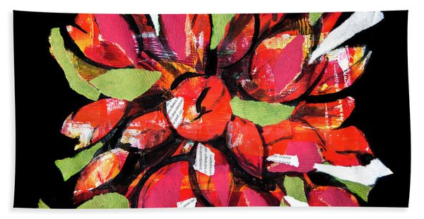 Flowers, Art Collage Beach Towel