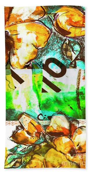 Flowers On Paper,  Collage And Acrylic Beach Towel