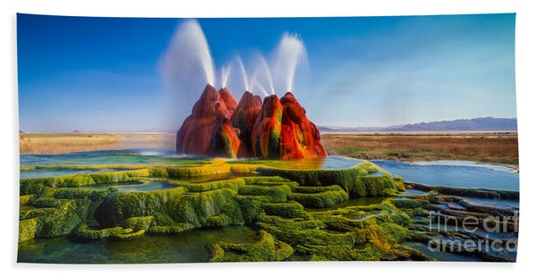 Fly Geyser Panorama Beach Towel