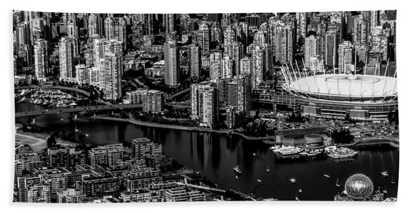 Beach Towel featuring the photograph Fly Over Vancouver Bandw by Michael Hope