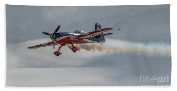 Flying Acrobatic Plane Beach Towel