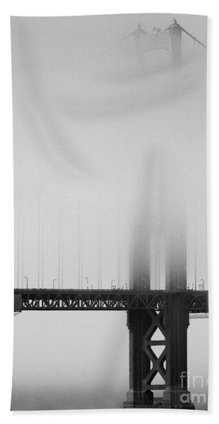 Fog At The Golden Gate Bridge 4 - Black And White Beach Towel
