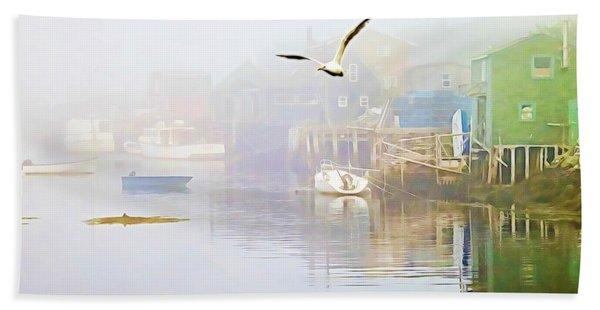 Fog Over West Dover - Digital Paint Beach Towel
