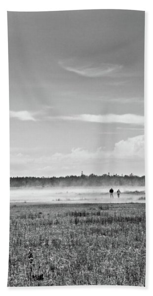 Foggy Day On A Marsh Beach Towel
