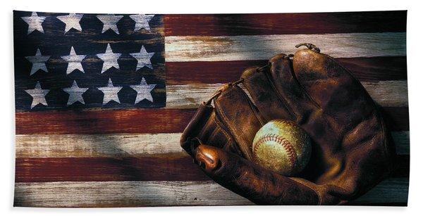 Folk Art American Flag And Baseball Mitt Beach Towel