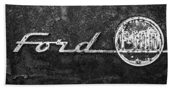 Ford F-100 Emblem On A Rusted Hood Beach Towel