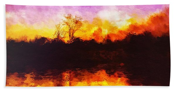 Beach Towel featuring the painting Forest Fire by Mark Taylor