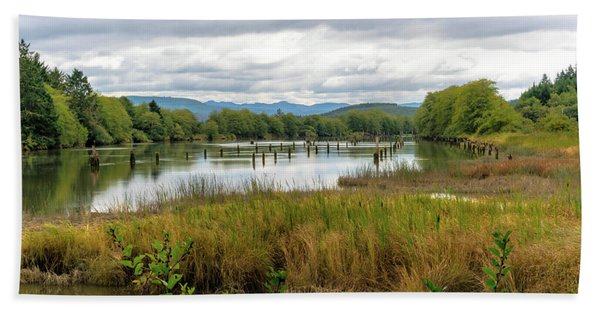 Beach Towel featuring the photograph fort Clatsop on the Columbia River by Michael Hope