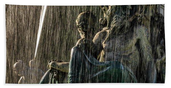 Fountain At Rossio Square Beach Towel