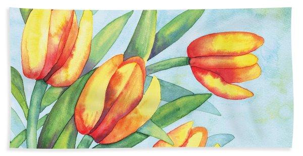 Four Tulips Beach Towel