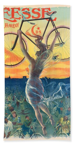 French Art Nouveau Poster For Deesse Bicycles, Circa 1898 Beach Towel
