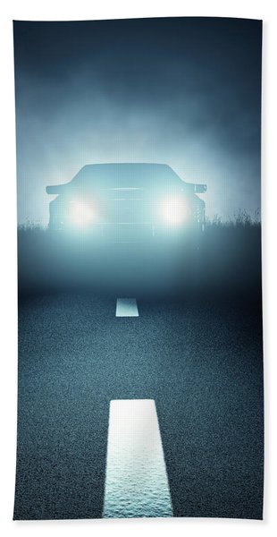 Front Car Lights At Night On Open Road Beach Towel
