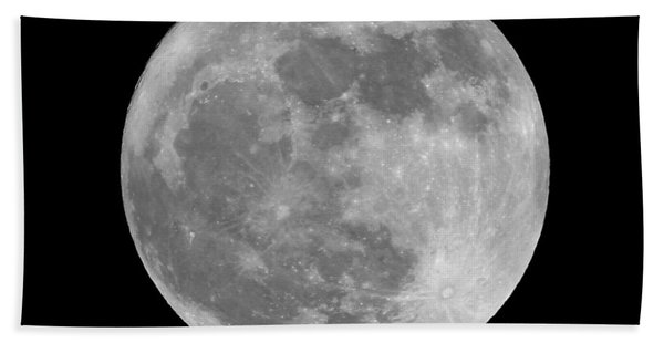 Full Moon In Black And White Beach Towel