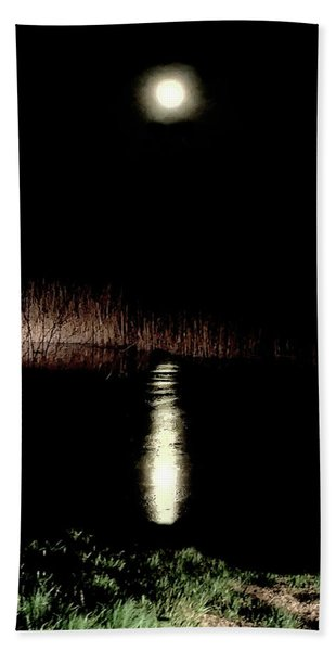 Full Moon Over Piermont Creek Beach Towel