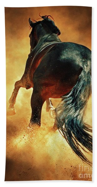 Galloping Horse In Fire Dust Beach Towel