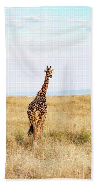 Giraffe Walking In Kenya Africa - Vertical Beach Towel
