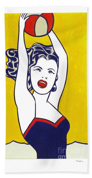 Girl With Ball - Pop Art - Roy Lichtenstein Beach Towel