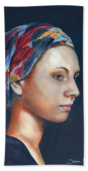 Girl With Headscarf Beach Towel