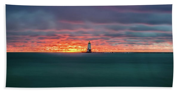 Glowing Sunset On Lake With Lighthouse Beach Towel