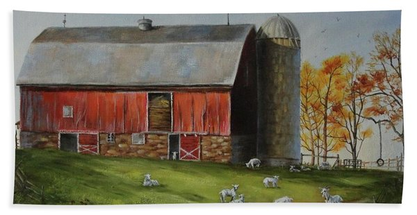 Beach Towel featuring the painting Goat Farm by Judy Bradley