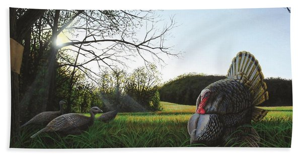 Gobbler's Morning Dance Beach Towel