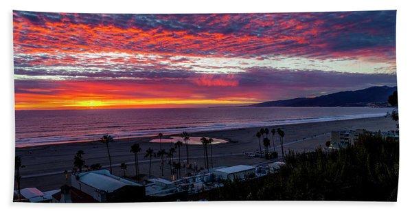 Golden Horizon At Sunset -  Panorama Beach Sheet