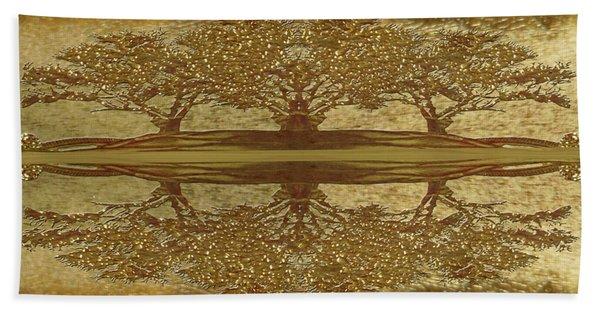 Golden Trees Reflection Beach Towel
