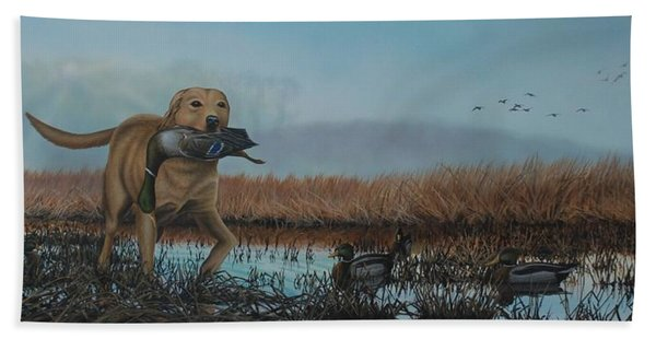 Gray Day Mallards Beach Towel