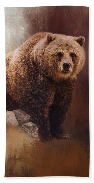 Great Strength - Grizzly Bear Art Beach Sheet
