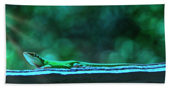 Green Anole Lizard Beach Towel