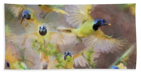 Green Jay Collage Beach Towel