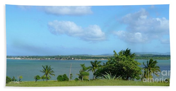 Green Landscape And Sky Beach Towel