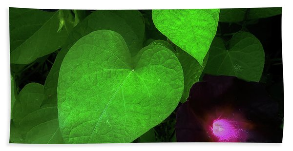 Green Leaf Violet Glow Beach Towel