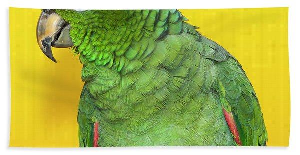 Green Parrot Beach Towel
