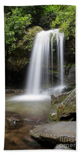 Beach Towel featuring the photograph Grotto Falls Vertical by Jemmy Archer