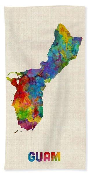 Guam Watercolor Map Beach Towel