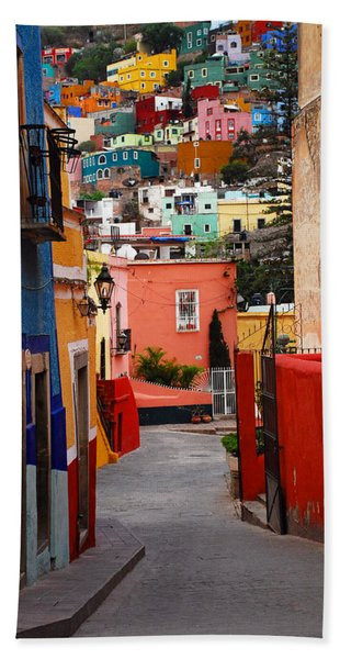 Beach Towel featuring the photograph Guanajuato Lane by Skip Hunt