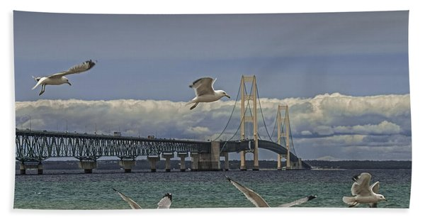 Gulls Flying By The Bridge At The Straits Of Mackinac Beach Sheet