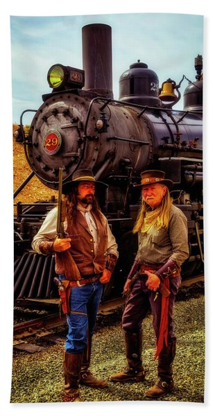 Gunfighters With Old Train Beach Towel