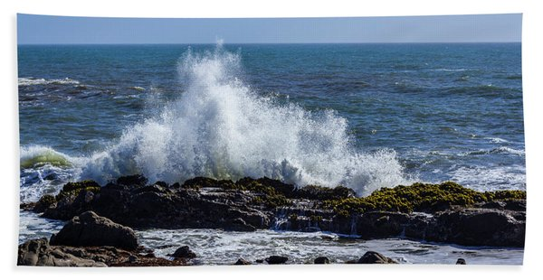 Wave Crashing On California Coast 1 Beach Towel
