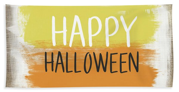Happy Halloween Sign- Art By Linda Woods Beach Towel