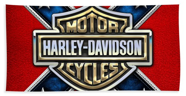 Harley-davidson - 3d Badge Beach Towel