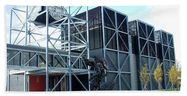 Harley Museum And Statue Beach Towel