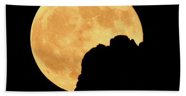 Harvest Moon Rising Superstition Mountain Beach Towel