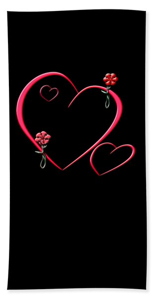 Hearts And Flowers Beach Towel
