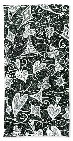 Hearts, Spades, Diamonds And Clubs In Black Beach Towel